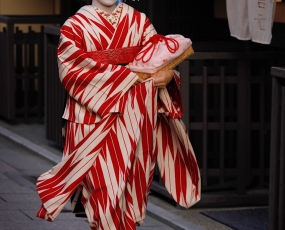 Maiko On Her Way To Engagement In Gion