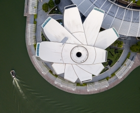 A bird eye view of ArtScience Museum located in Marina Sand Bay, Singapore