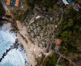 A construction site of a luxury resort located on a cliff at Ceningan blue Lagoon