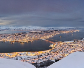 Panoramic view of the winter Tromso in the snow