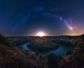 Moon Rising Under the Milky Way